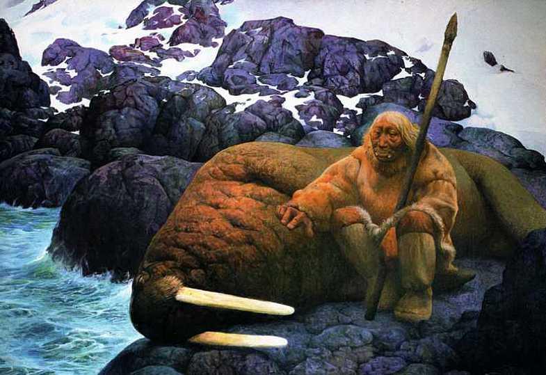 Шаманская живопись Азата Миннекаева - Два моржа
