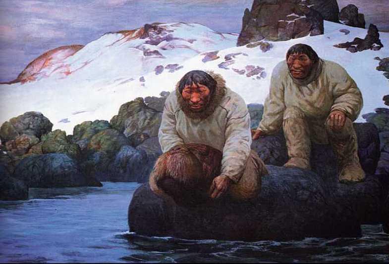 Шаманская живопись Азата Миннекаева - Возвращение головы моржа
