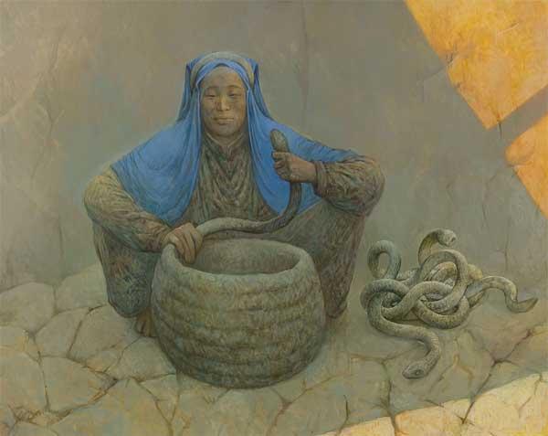 Шаманская живопись Азата Миннекаева - Повелительница дождя