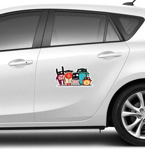 Виниловые наклейки на авто, The mafia, izya, желтый, голубой, черный, детские, маска, мафия, монстры, продажи, милые животные