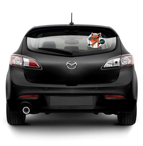 Виниловые наклейки на авто, WTF?, 13mu, милые животные, 300 Лучших работ, голубой, конфетти, очки, лиса, животные, хуй, оранжевый