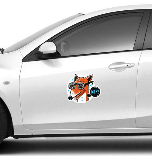 Виниловые наклейки на авто, WTF?, 13mu, голубой, конфетти, очки, лиса, животные, хуй, оранжевый