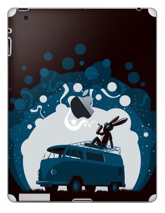 Наклейка на планшеты - iPad 2 / iPad 3 The new c яблоком - Night Scene '11