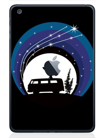 Наклейка на планшеты - iPad Mini 1/2/3  с яблоком - Night Scene