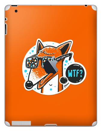 Наклейка на планшеты - iPad 2 / iPad 3 The new c яблоком - WTF?