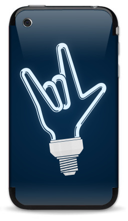 Наклейка на iPhone 3G, 3Gs - Рок-лампочка