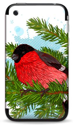 Наклейка на iPhone 3G, 3Gs - Снегирь