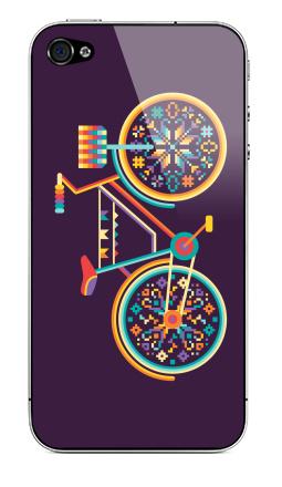 Наклейка на iPhone 4S, 4 - Hippie Bike