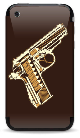 Наклейка на iPhone 3G, 3Gs - Gun