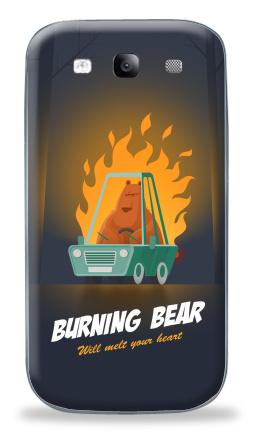 Наклейка на Galaxy S3 (i9300) - Горящий медведь