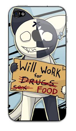 Наклейка на iPhone 4S, 4 (с яблоком) - Will work for...