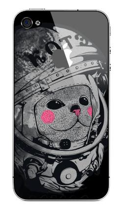 Наклейка на iPhone 4S, 4 (с яблоком) - Котэ-космонафтэ