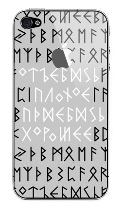 Наклейка на iPhone 4S, 4 (с яблоком) - Руны