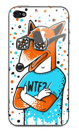 Наклейка на iPhone 4S, 4 (с яблоком) - WTF?