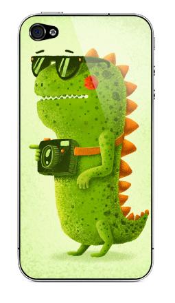 Наклейка на iPhone 4S, 4 - Dino touristo hipsto