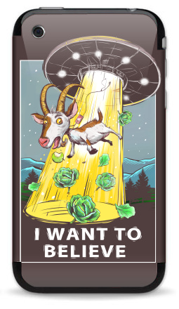 Наклейка на iPhone 3G, 3Gs - I want to believe