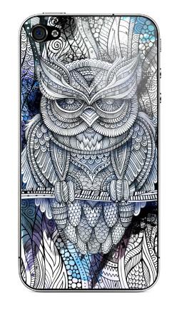 Наклейка на iPhone 4S, 4 - Doodle owl