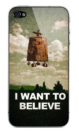Наклейка на iPhone 4S, 4 - I want to believe