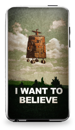 Наклейка на iPod Touch 3 - I want to believe