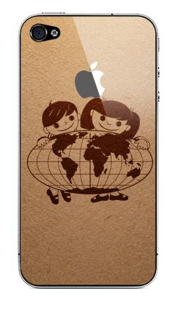 Наклейка на iPhone 4S, 4 (с яблоком) - Из детства...