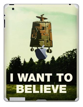 Наклейка на планшеты - iPad 4 Retina c яблоком - I want to believe