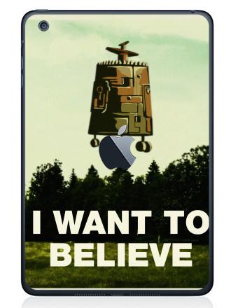 Наклейка на планшеты - iPad Mini 1/2/3  с яблоком - I want to believe