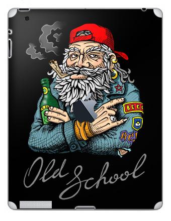 Наклейка на планшеты - iPad 2 / iPad 3 The new c яблоком - Old School