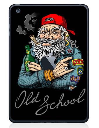 Наклейка на планшеты - iPad Mini c яблоком - Old School