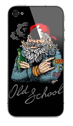 Наклейка на iPhone 4S, 4 (с яблоком) - Old School