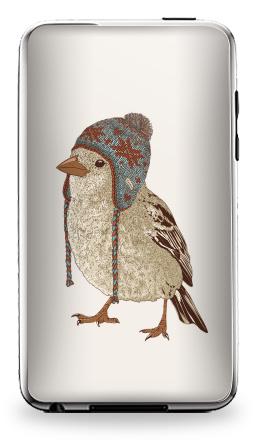 Наклейка на iPod Touch 2 - Птица в шапке