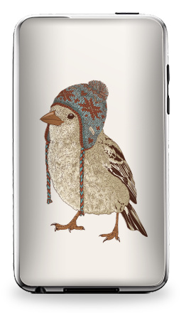 Наклейка на iPod Touch 3 - Птица в шапке
