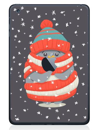 Наклейка на планшеты - iPad Mini 1/2/3  с яблоком - Пингвин в шарфе и шапке