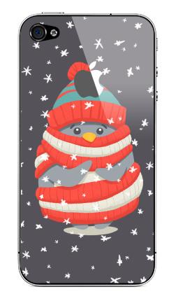 Наклейка на iPhone 4S, 4 (с яблоком) - Пингвин в шарфе и шапке