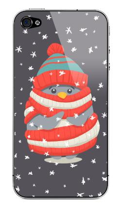 Наклейка на iPhone 4S, 4 - Пингвин в шарфе и шапке