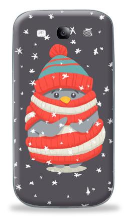 Наклейка на Galaxy S3 (i9300) - Пингвин в шарфе и шапке