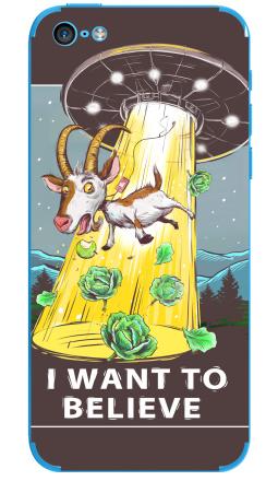 Наклейка на iPhone 5C - I want to believe