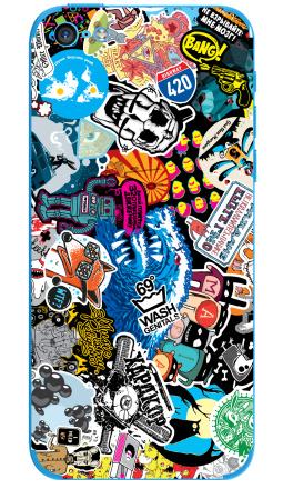 Наклейка на iPhone 5C - Стикербомбинг Stickerbombing