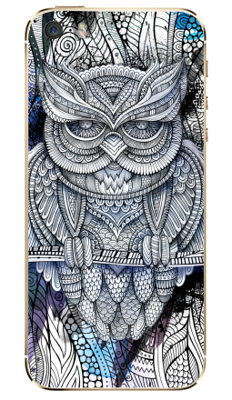 Наклейка на iPhone 5S, 5SE - Doodle owl