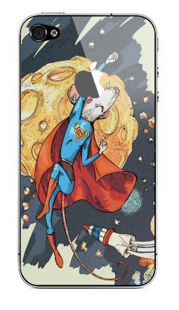 Наклейка на iPhone 4S, 4 (с яблоком) - СуперМышь