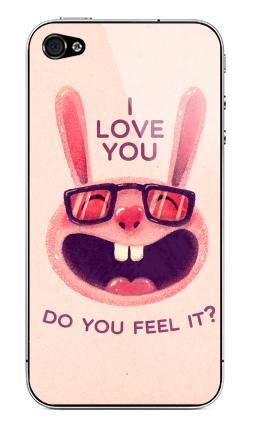 Наклейка на iPhone 4S, 4 - Влюбленный зая