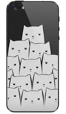 Наклейка на iPhone 5 - White Cats