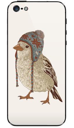 Наклейка на iPhone 5 - Птица в шапке