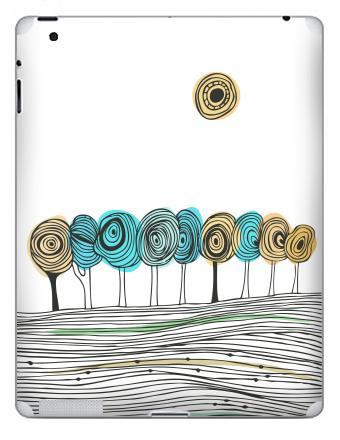 Наклейка на планшеты - iPad 4 Retina - Деревья. графика