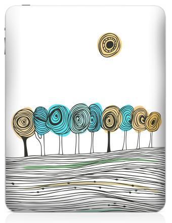 Наклейка на планшеты - iPad - Деревья. графика