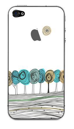 Наклейка на iPhone 4S, 4 (с яблоком) - Деревья. графика