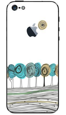 Наклейка на iPhone 5 с яблоком - Деревья. графика