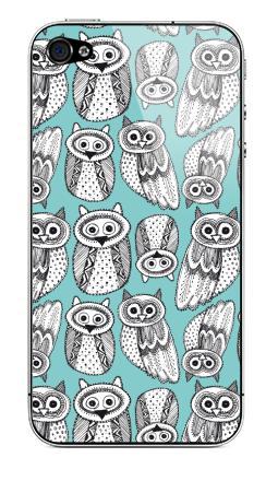 Наклейка на iPhone 4S, 4 - Черно-белые рисованые совы