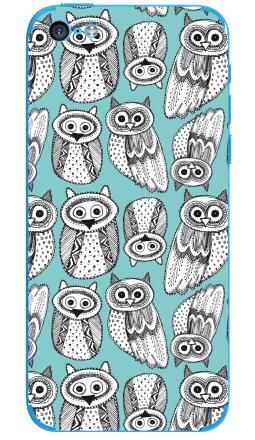 Наклейка на iPhone 5C - Черно-белые рисованые совы