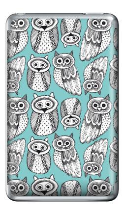 Наклейка на iPod Classic - Черно-белые рисованые совы