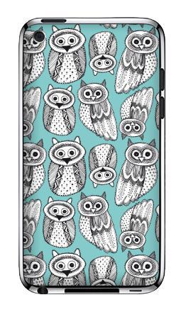 Наклейка на iPod Touch 4 - Черно-белые рисованые совы